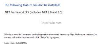 fix net framework 3 5 0x800f0906