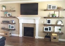 inspiration shelves next to fireplace
