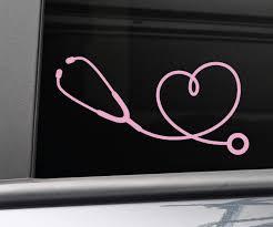 Amazon Com Stethoscope Heart Medical Doctor Nurse Vinyl Decal Laptop Car Truck Bumper Window Sticker 7 5 X 3 75 Pink Automotive