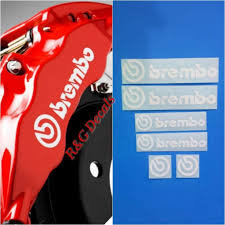 Amazon Com R G Brembo Decal Combo Package For 6 Piston 4 Piston Brembo Logos Brake Caliper Decal Sticker High Temp Set Of 6 Decals White Everything Else