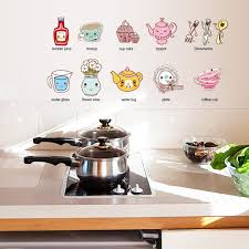 Cartoon Kitchen Utensil Wall Sticker Removable Kitchen Decorative Stickers Multi Color Pvc Decals Sale Banggood Com