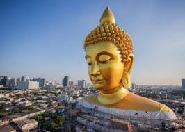 The Big Buddha of Wat Pak Nam Monastery. 69 metre tall Buddha statue at Wat Pak Nam, WISATA KUIL DI THAILAND