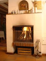 gas and wood burning fireplace