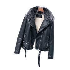 faux leather pu jacket women winter