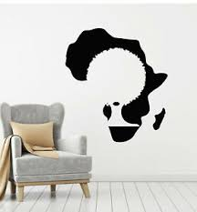Vinyl Wall Decal African Continent Map Black Lady Lips Afro Stickers G2187 Ebay