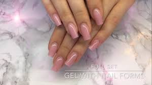 full set of gel nails with nail forms