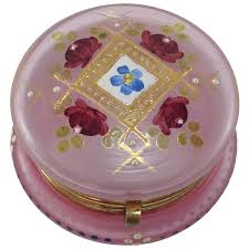 pink frosted glass enamelled powder