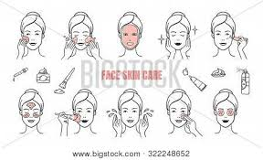 face skin care icons vector photo