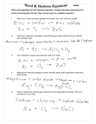 skeleton equations from word worksheet