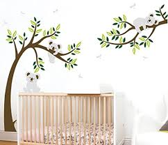 Amazon Com Aliqing Nursery Wall Decals Family Tree Wall Decal Koala Bear Wall Stickers Kids Baby Bedroom Wall Decor 225cm Width X 150cm Height Brown Green Home Kitchen