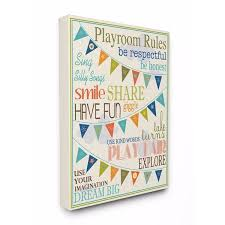 Shop Stupell Industries Playroom Rules With Pennants In Blue Wall Art Overstock 19385266 30x40