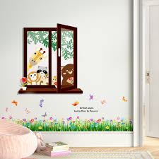 Zoomie Kids Howle Window View Of Animal Friends And Butterfly Grass Wall Decal Reviews Wayfair