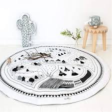 Amazon Com Yevem Kids Toddler Village Pattern Cars Play Mat Round Rugs Baby Quilted Play Mats Sleeping Crawling Rug Carpet For Kids Room Decoration Pattern C Kitchen Dining