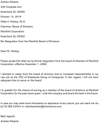 board position resignation letter