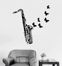Vinyl Wall Decal Saxophone Jazz Musical Instrument Store Butterflies S Wallstickers4you