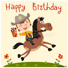 Happy Birthday Card Funny Boy In Cowboy Costume Riding A Horse With Gift Buy This Stock Vector And Explore Similar Vectors At Adobe Stock Adobe Stock