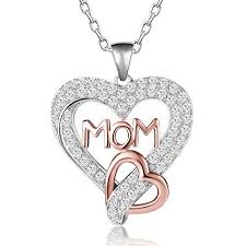two tone love mom heart necklace