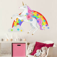 Unicorn Wall Stickers Rainbow Removable Kids Girls Bedroom Stars Decor Novelty For Sale Online Ebay