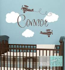 Airplane Wall Decals Airplane Cloud And Personalized Name Vinyl Wall Decal For Boy Baby Nurser Nursery Wall Decals Boy Baby Nursery Decals Baby Boy Nurseries