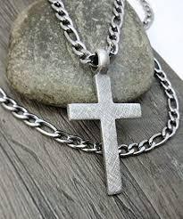 com men s cross necklace large