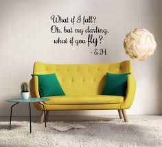 What If I Fall Oh But My Darling What If You Fly Wall Decal What If I Fall Vinyl Wall Decal Vinyl Wall Dec Wall Decal Sticker Teal Home Decor Blue