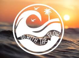 Go With The Flow Wave Vinyl Decal Vinyl Sticker Car Window Etsy