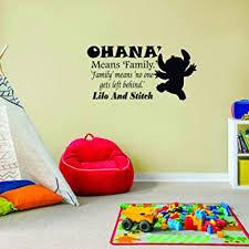 Amazon Com Family Ohana Lilo Stitch Quote Disney Cartoon Quotes Wall Sticker Art Decal For Girls Boys Room Bedroom Nursery Kindergarten House Fun Home Decor Stickers Wall Art Vinyl Decoration Size 15x20 Inch