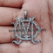 925 silver dm monogram pendant