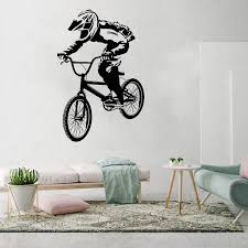 Bmx Bike Bicycle Biker Boys Wall Decal Vinyl Home Decor Wall Sticker Vinyl Wall Decorative Stickers Mural Poster Wl1507 Wall Stickers Aliexpress
