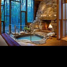 in home waterfall and hot tub indoor