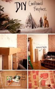 diy cardboard fireplace mantle