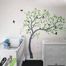 Amazon Com White Tree Decal Large Nursery Tree Decals With Birds Unisex White Tree Decals Wall Mural Removable Vinyl Wall Sticker Wall Tattoos 032r Handmade