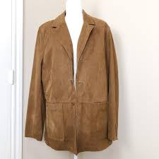 brown suede coat blazer jacket size 14