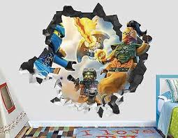 Lego Ninjago Car Wall Decal Smashed 3d Sticker Decor Vinyl Movie Ah104