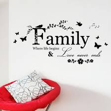 Family Love Never Ends Quote Vinyl Wall Decal Free Shipping Wall Stickers Art
