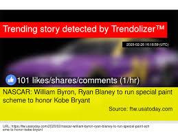 NASCAR: William Byron, Ryan Blaney to run special paint scheme to honor  Kobe Bryant
