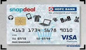 snapdeal hdfc bank credit card receive
