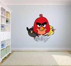 Amazon Com Angry Birds Black Red Yellow Bird Wall Sticker Graphic Decal Sticker Vinyl Mural Baby Kids Room Bedroom Nursery Kindergarten School House Home Design Wall Art Decor Removable Peel And Stick 40x20