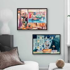 Wall Art Friends Tv Show Fontain Watercolor Poster Prints 90s Sitcom Central Perk Couch Canvas Painting Tv Series Poster Decor Painting Calligraphy Aliexpress