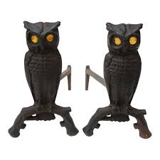 pair of vintage cast iron owl andirons