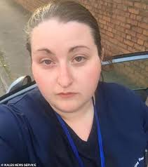 Care worker delivering supplies in uniform abused in the street ...