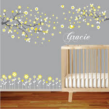 Vinyl Wall Decal Branch Set Yellow Nursery Wall Decal Sticker With Flowers Birds Custom Name Yellow Nursery Walls Wall Decal Branches Nursery Wall Decals