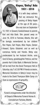Ada Hayes | Obituary | Fairview Post