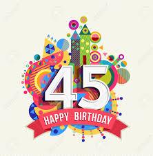 Feliz Cumpleanos Cuarenta Y Cinco 45 Anos Tarjeta De Felicitacion