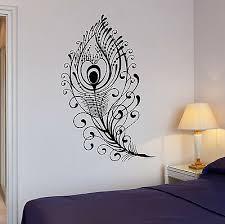 Wall Decal Beautiful Peacock Feather Bird Room Art Vinyl Stickers Ig2651 Ebay