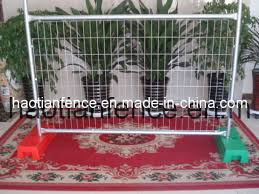 China 2 1x2 4m Galvanized Temporary Fence With Concrete Block Base Brace Stay Clamp And Shade Cloth China Fence Fencing