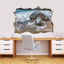 Sea Turtle 3d Smashed Wall Sticker Decal Home Decor Art Mural Animals J1167 Ebay