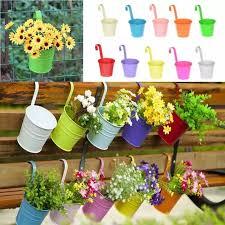 Flower Pot Hanging Porch Garden Fence Plant Metal Planter Iron Home Decor Seeds Mental Pot Colorful Pots Hanging Baskets Lazada Ph