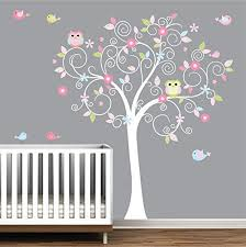 Amazon Com Tree Wall Decal Nursery Wall Decals Nursery Wall Art Tree Decal With Owls Birds Wall Stickers Handmade