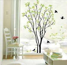 Large Green Tree Flying Black Birds Wall Sticker Decal For Kids Room Living Room Csazq Geek